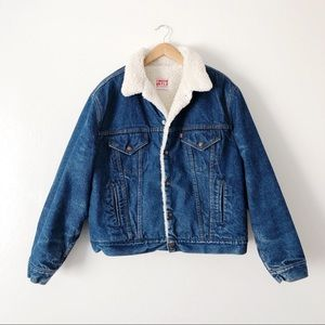 Vintage Levis Red Tab 80s Blue Denim Sherpa Jacket